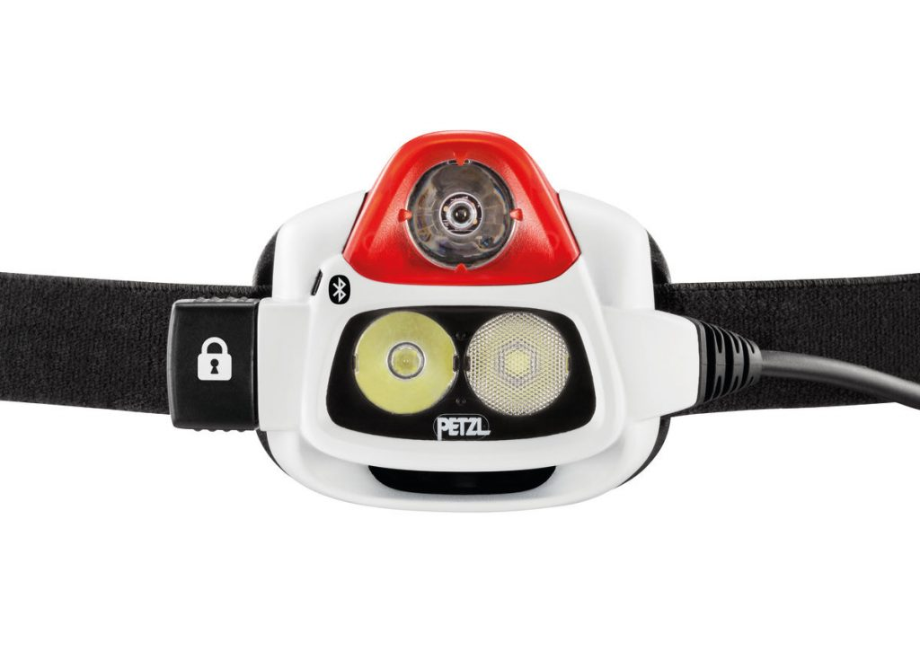 Petzl Nao+ Headlamp Review showing 2 beams and RLT sensor. Front of unit E36AHR-2B.