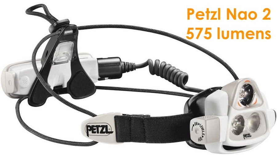Petzl Nao 2 outdoor headlamp with 575 lumens of brightness. Can buy in 2017.