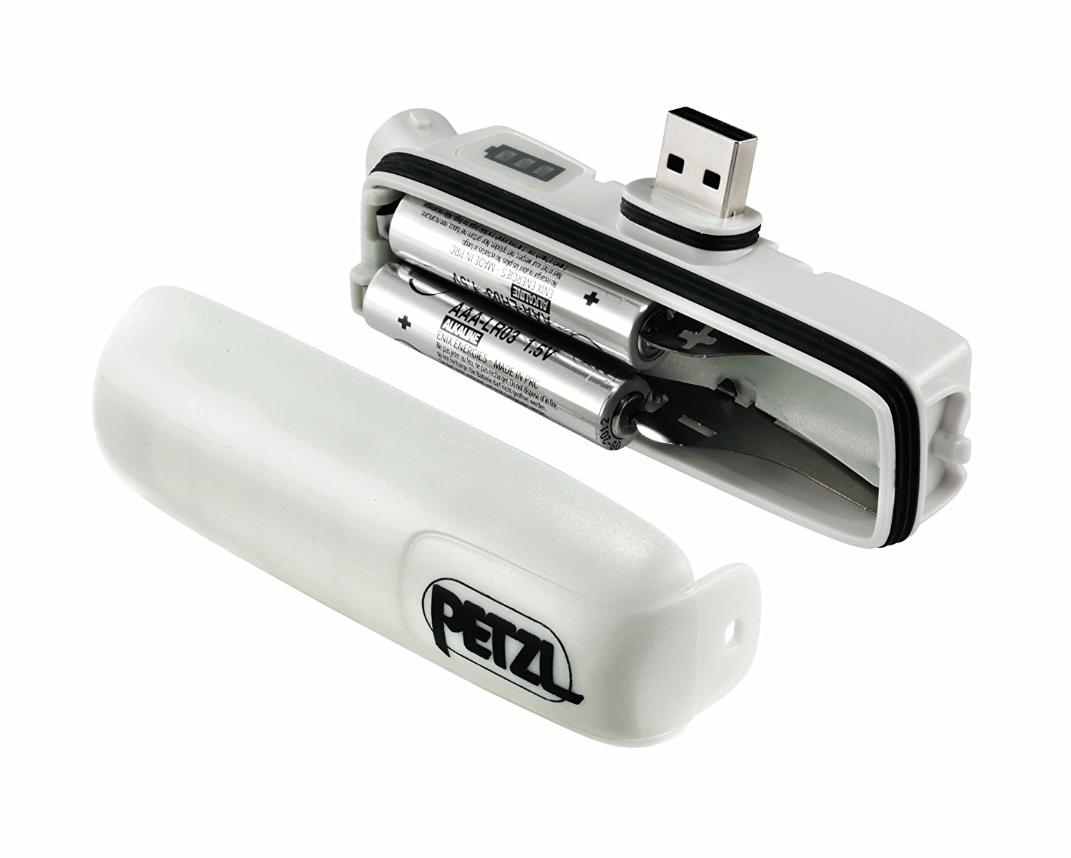 Battery compartment for Petzl Nao 2, showing two AAA batteries installed for emergency use.