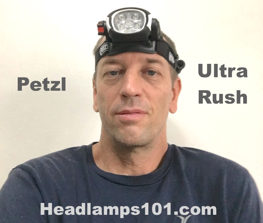 Petzl Ultra Rush 760 lumens headlamp as worn on head.